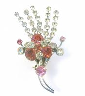 Vintage Pink And Clear Rhinestone 1940's Brooch.